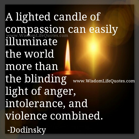 A lighted candle of compassion