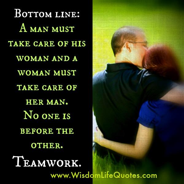 No Man & Woman is before the other! Teamwork