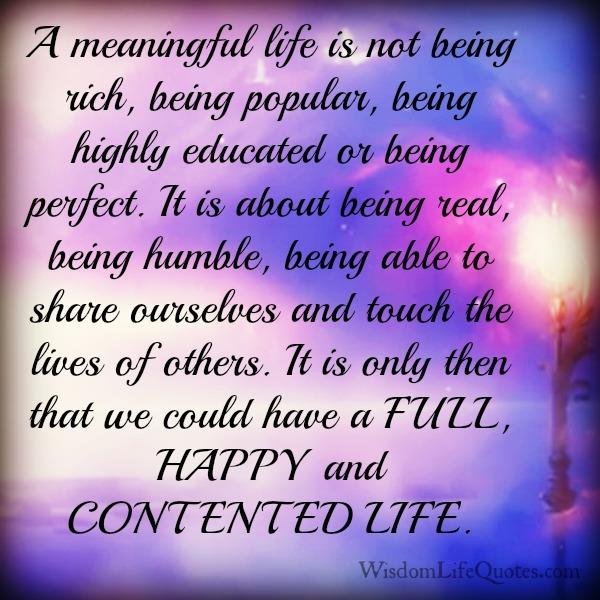 What is a meaningful Life?